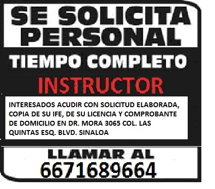 Se solicitan instructores de manejo