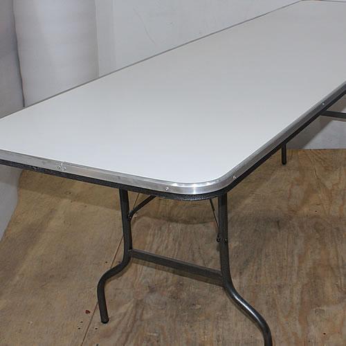 Tablon plegable rectangular cubierta fibra de vidrio for Mesa de vidrio rectangular