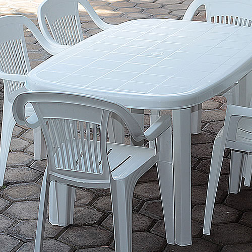 Venta de Mesas Rectangulares de Plastico con patas Quitapon color Blanco