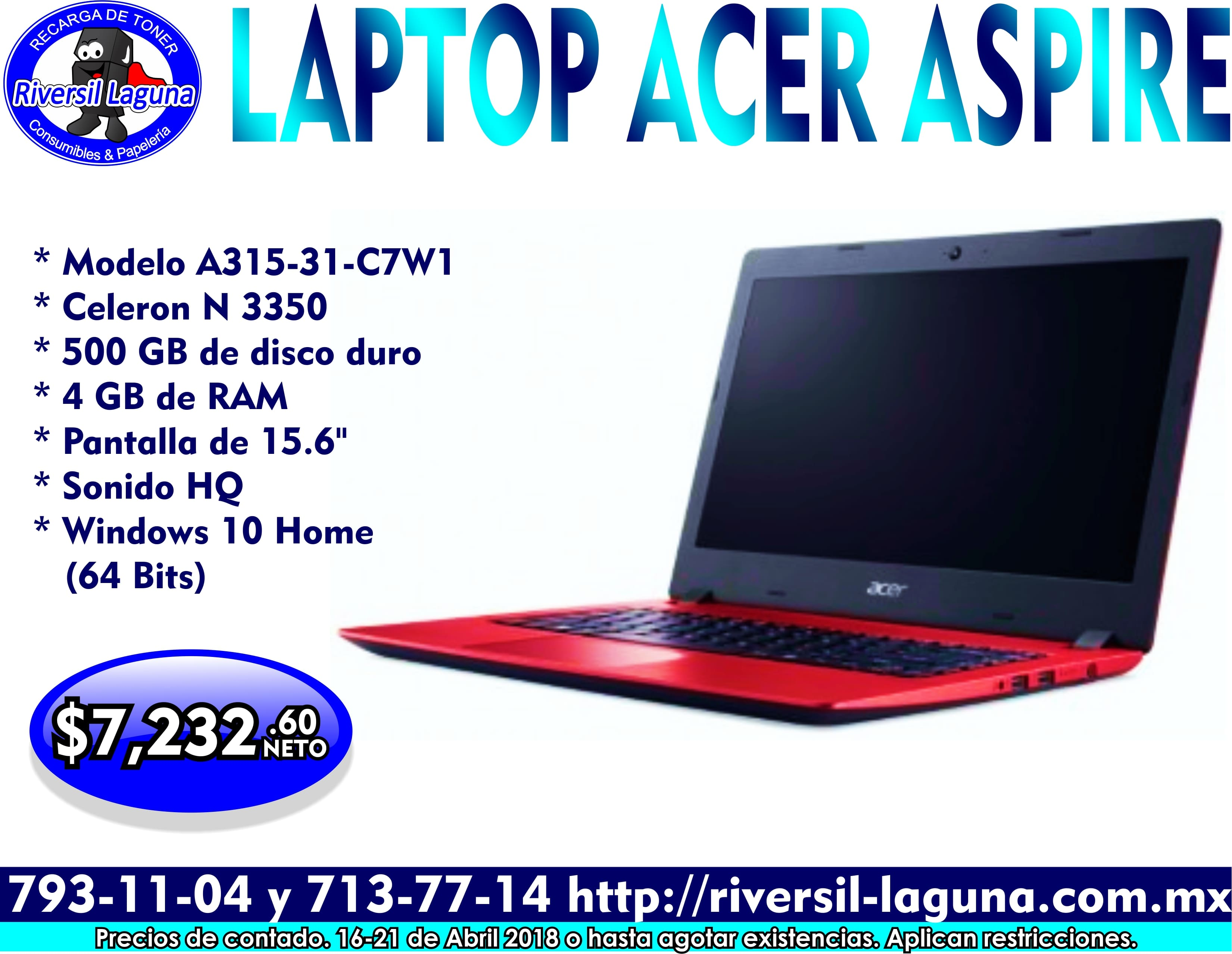 LAPTOP ACER ASPIRE A315-31-C7W1